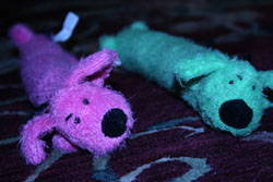Blue Dog and Pink Dog toys